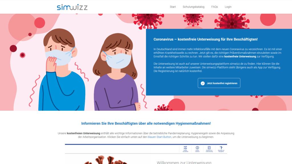 Screenshot: simwizz.de | kostenfreie Coronavirus-Unterweisung