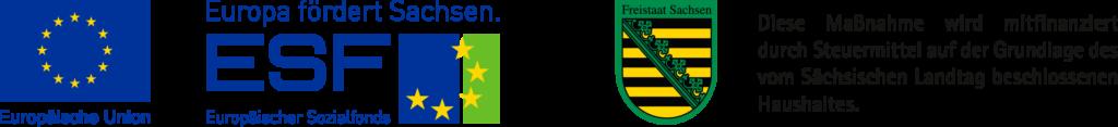 ESF- (Europäischer Sozialfonds) und Freitaat Sachsen-Logo